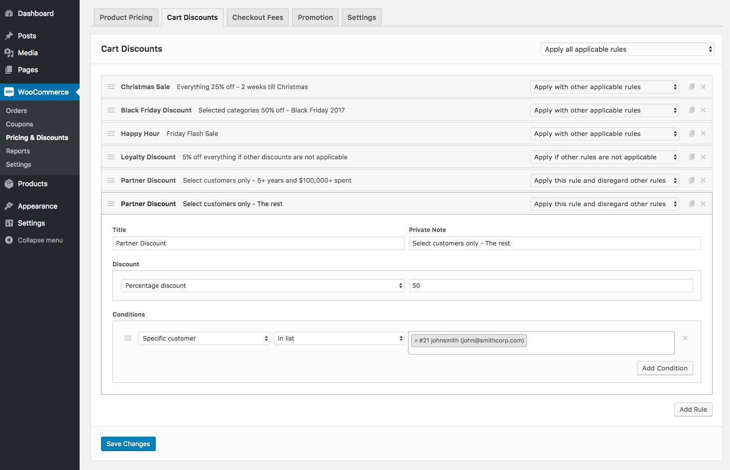 Screenshot showing the wordpress admin dashboard