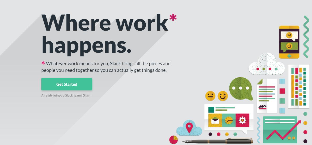 Screenshot showing a landing page for Slack