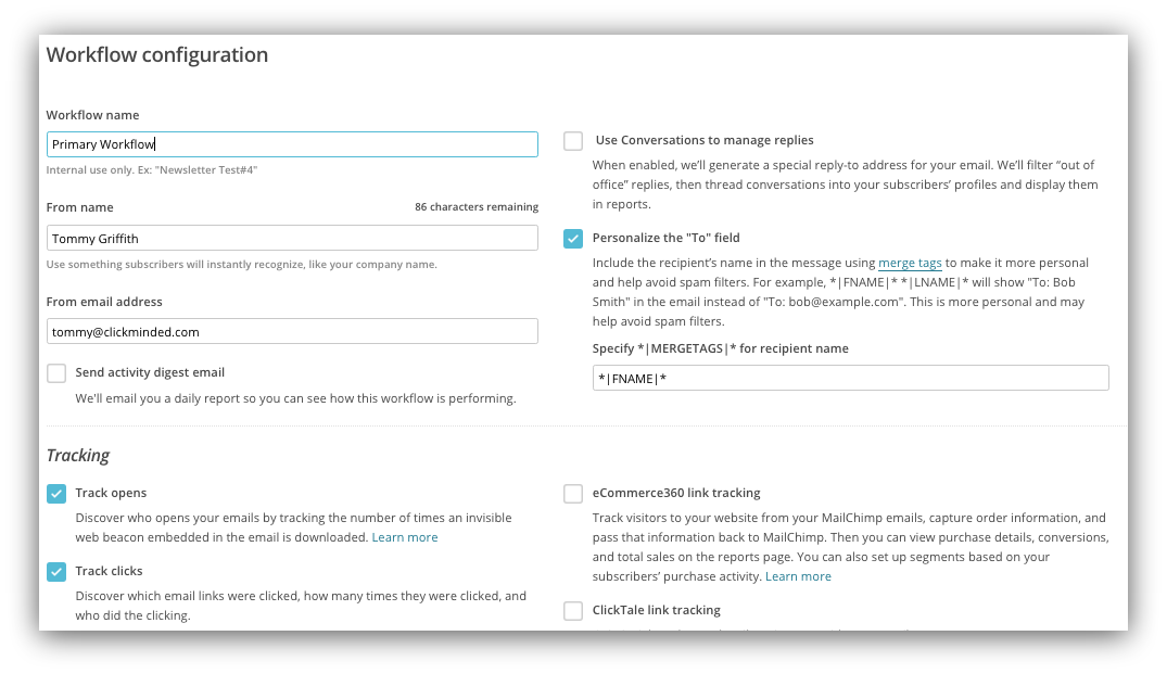 Screenshot showing how you can configure a click trigger using Mailchimp