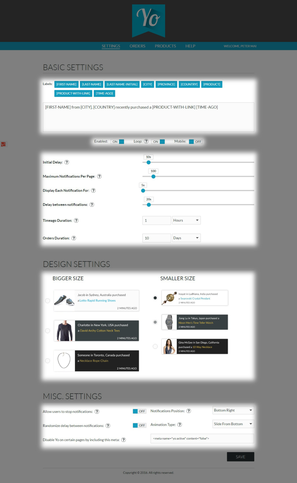 Screenshot showing the settings page for Yo once you add it to your Shopify store