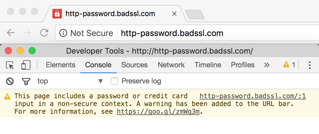 Screenshot showing a google chrome warning