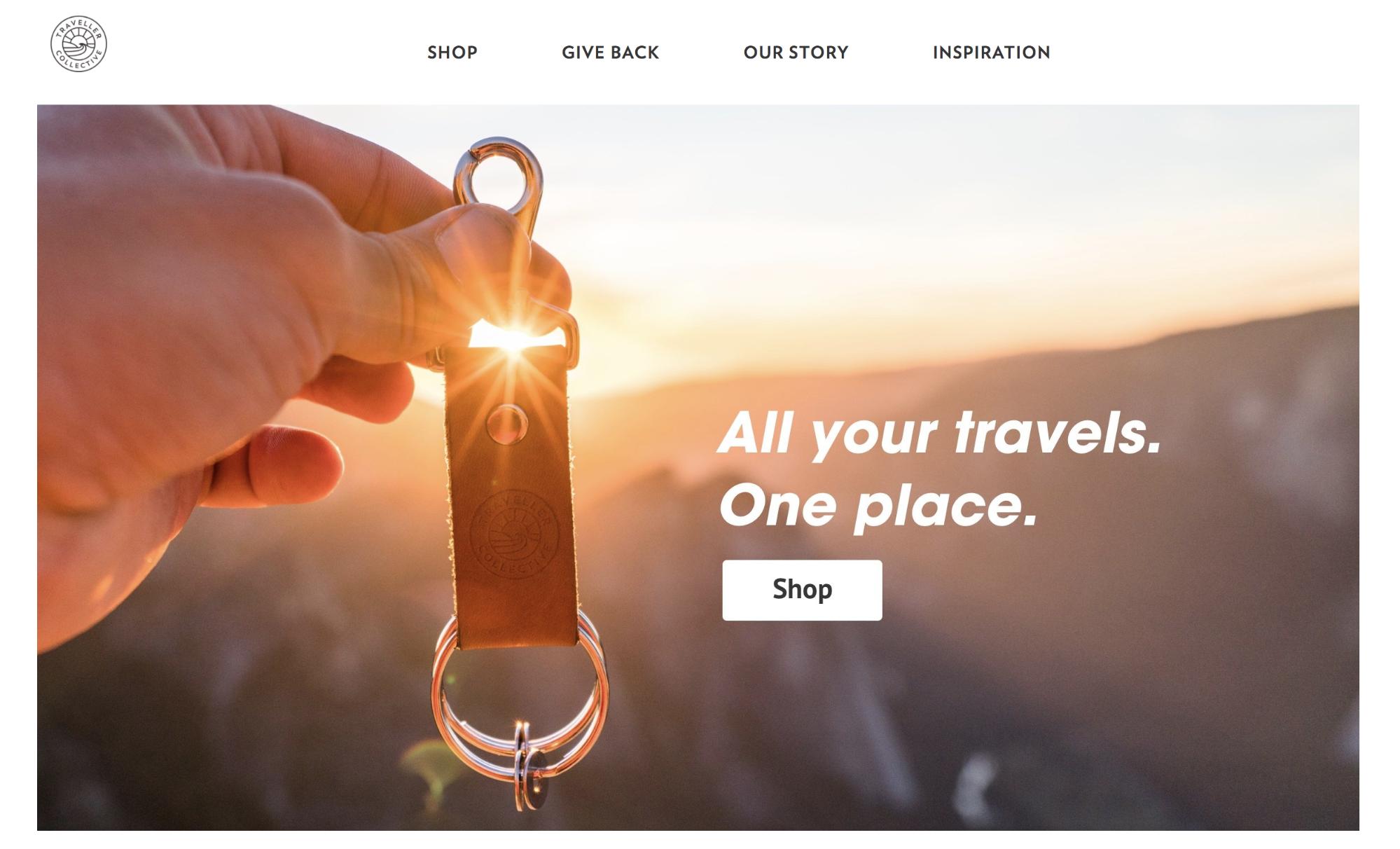 Screenshot showing a landing page