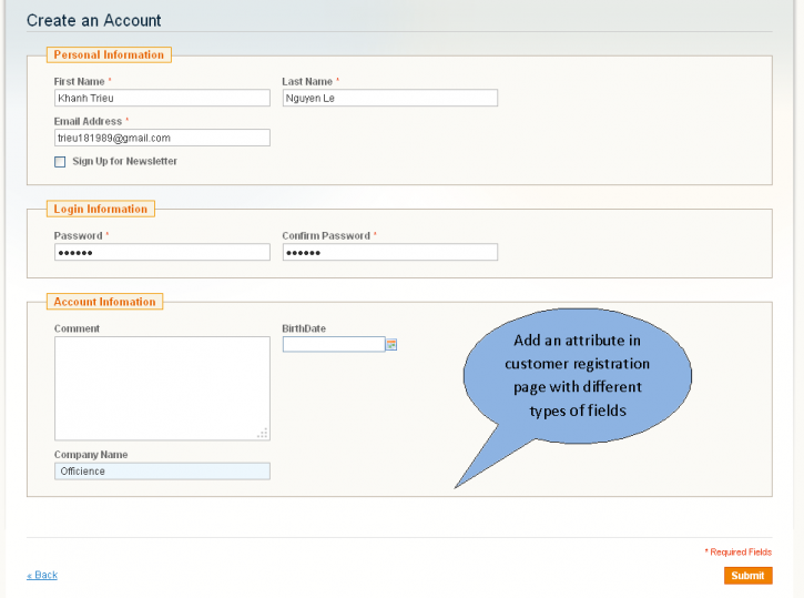 Screenshot showing an account creation page