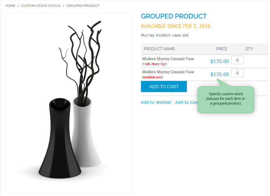 Screenshot showing a product page with the option to choose quantity