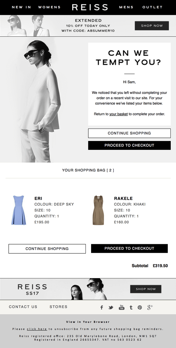 Screenshot showing the cart page on Reiss