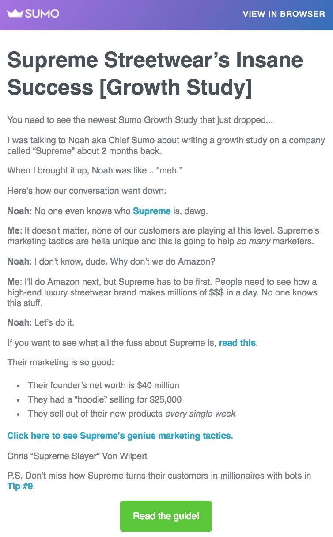 Screenshot showing a Sumo email