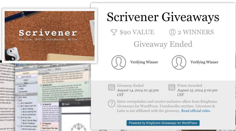 Screenshot showing a giveaway page