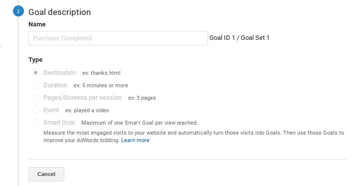 Screenshot showing email campaign goal description page
