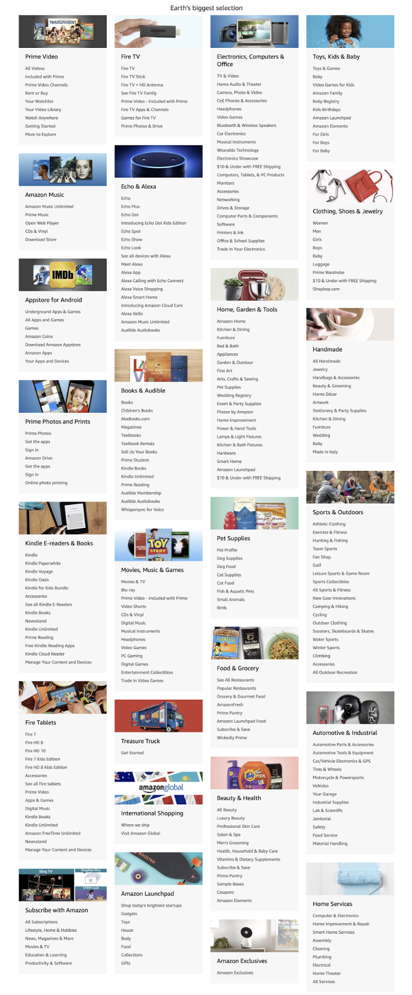 Screenshot showing categories on amazon.com