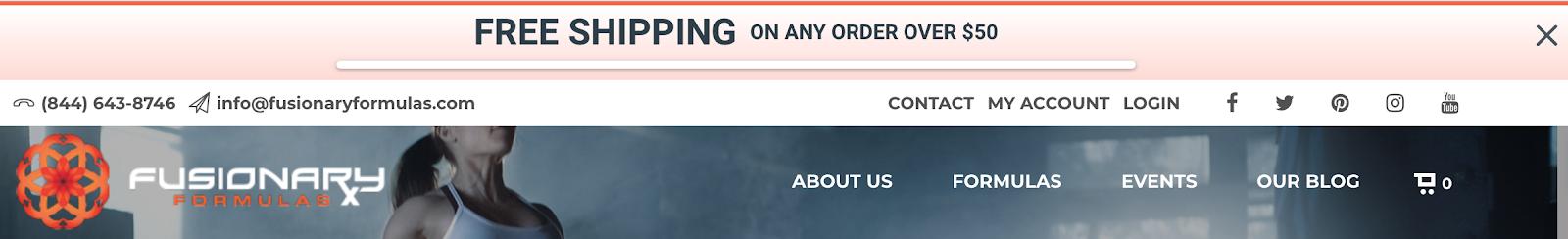 Screenshot showing Sumo free shipping bar