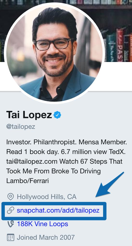 Screenshot of Tai Lopez
