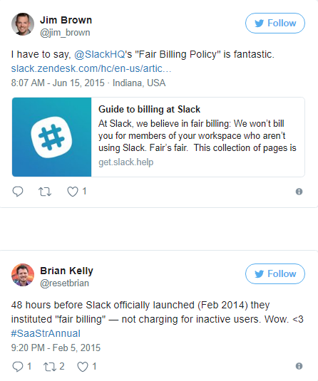 Screenshot showing two different tweets talking about Slack