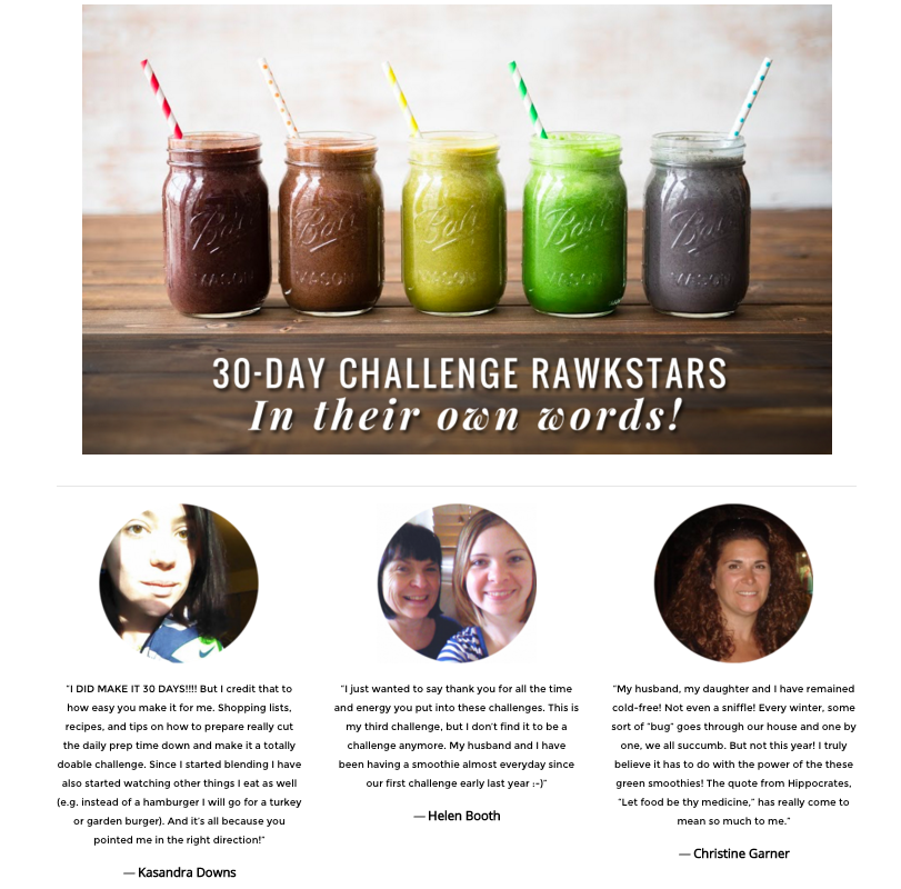 Simple Green Smoothies using testimonials on their 30 day challenge landing page