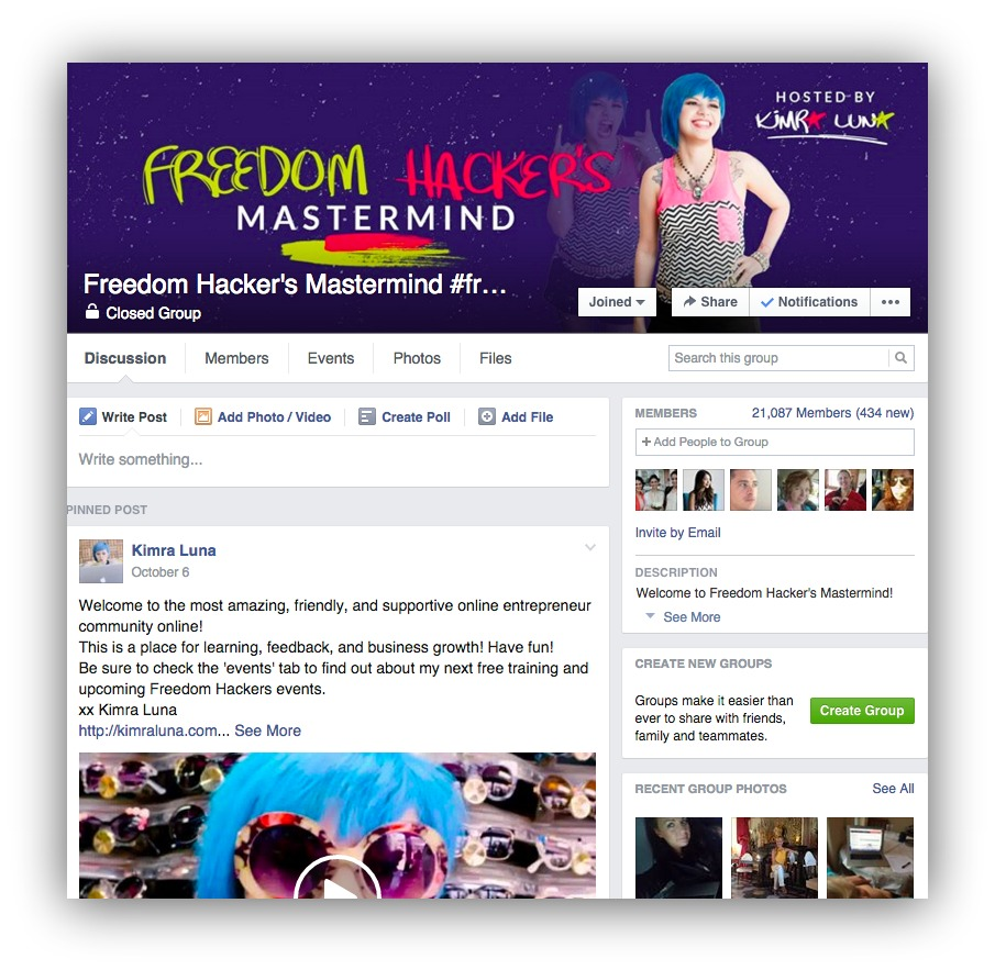 free facebook marketing through groups