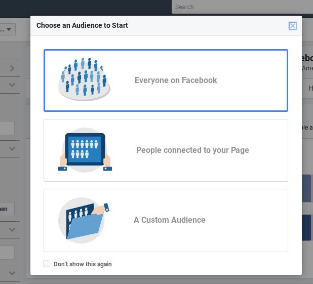 Screenshot showing facebook audience selection