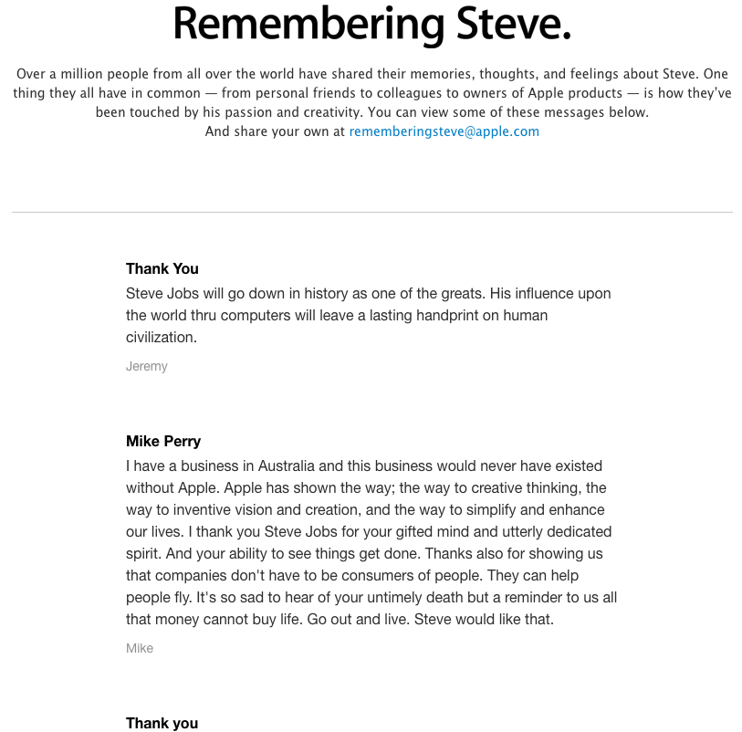 "Screenshot showing the ""remembering steve jobs"" page on apple.com"