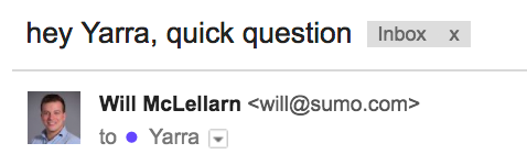 Screenshot of the title of an outreach email sent by Will