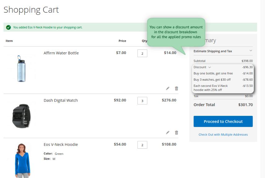 Screenshot showing a shopping cart
