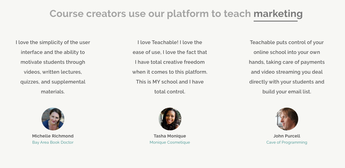 Screenshot showing testimonials for a platform