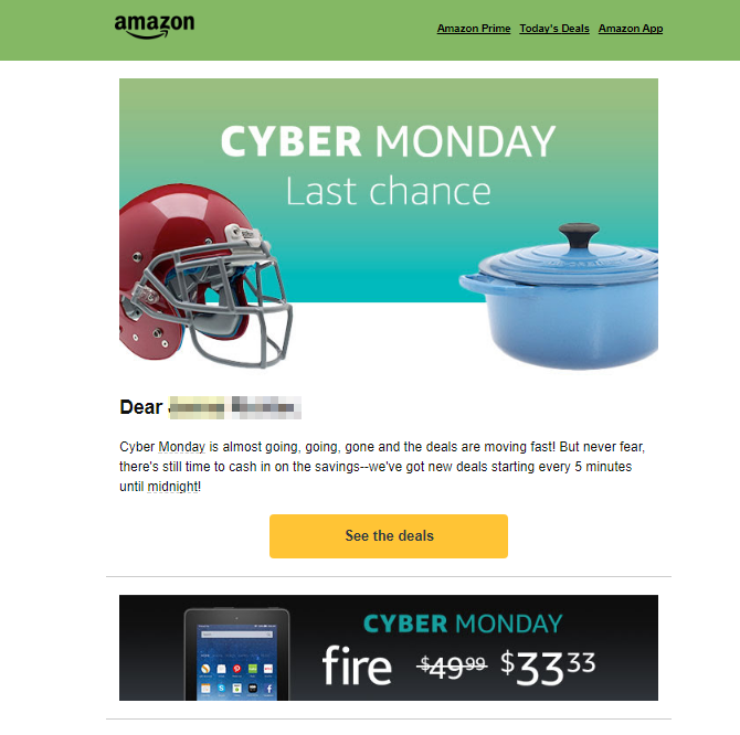 Screenshot showing an email sent by amazon
