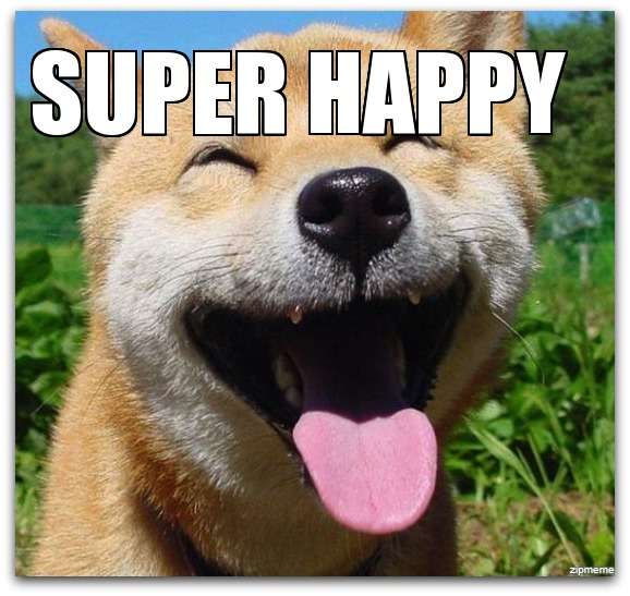 super happy dog