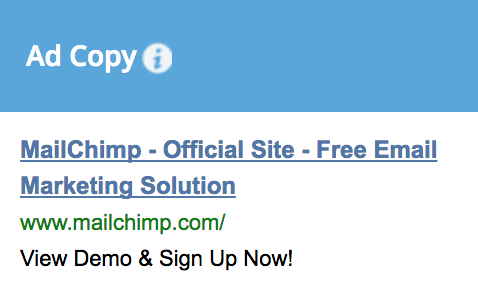 Screenshot showing ad copy for mailchimp