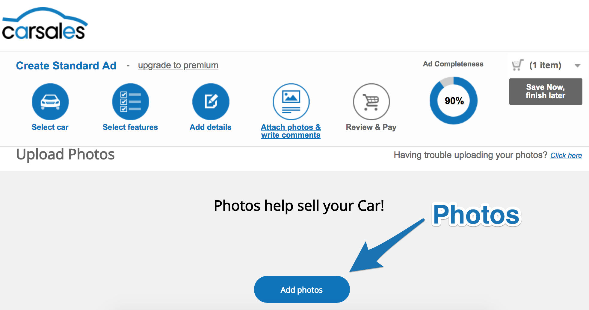 "Screenshot showing the ""Add photos"" page on carsales"