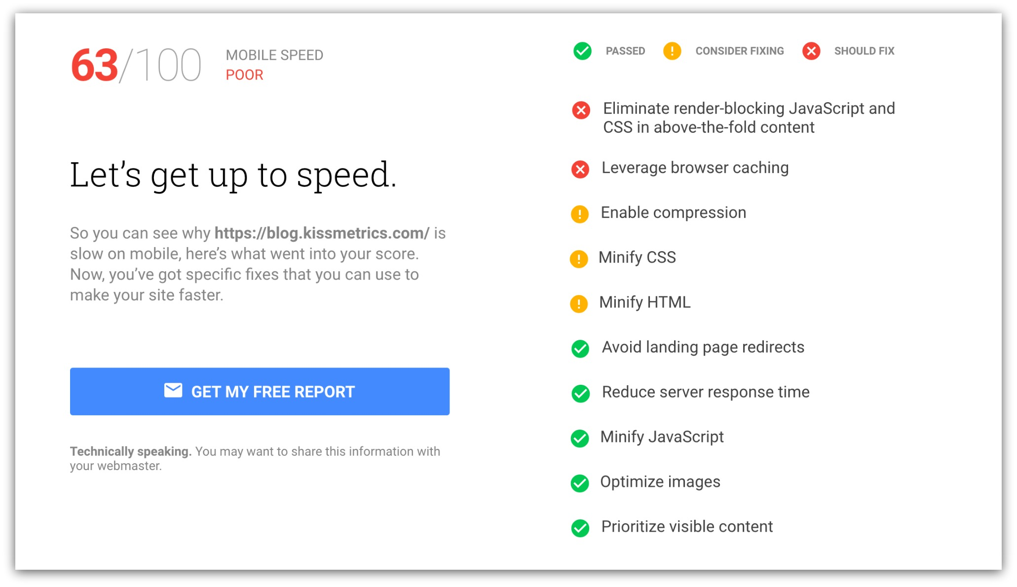 Mobile Speed Suggestions Google