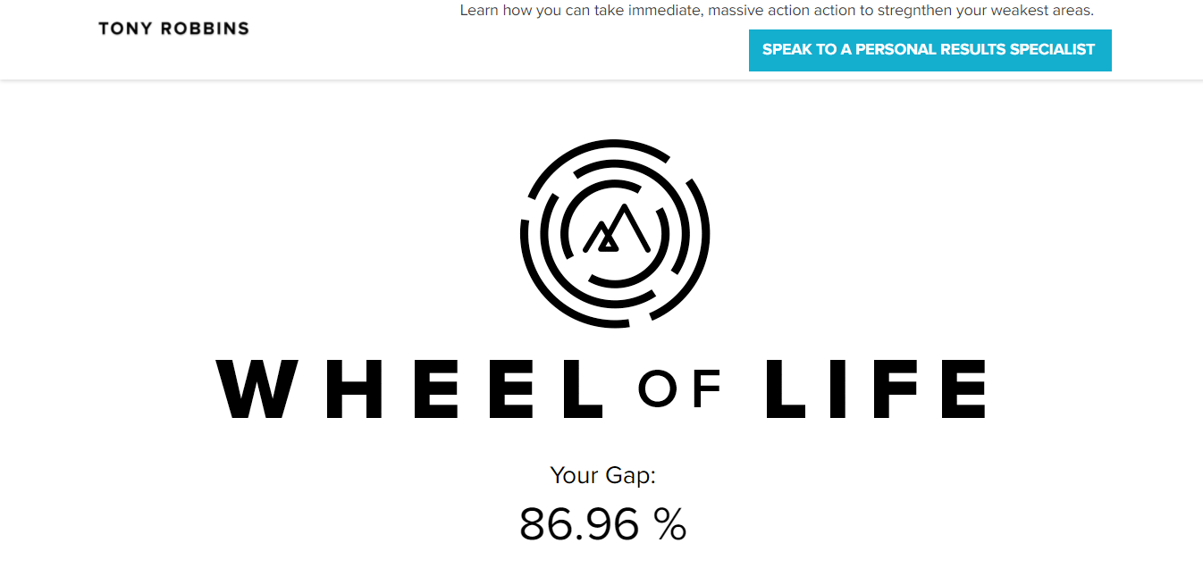 Screenshot of the Wheel of Life product on Tony Robbins