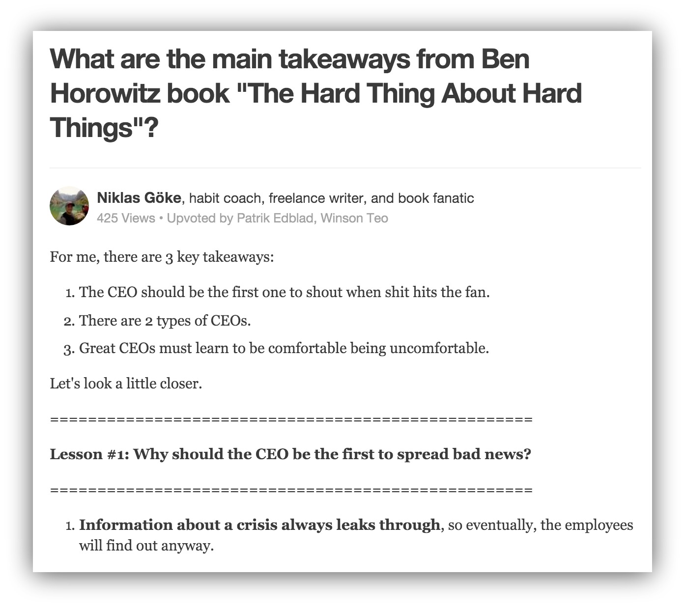 main takeaways from ben horowitz book