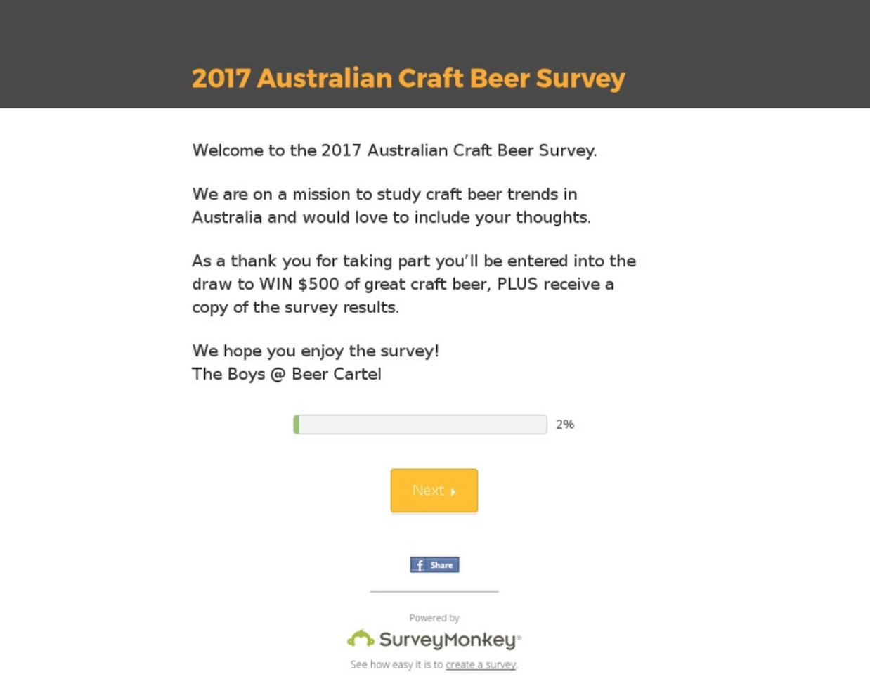 Screenshot showing a survey