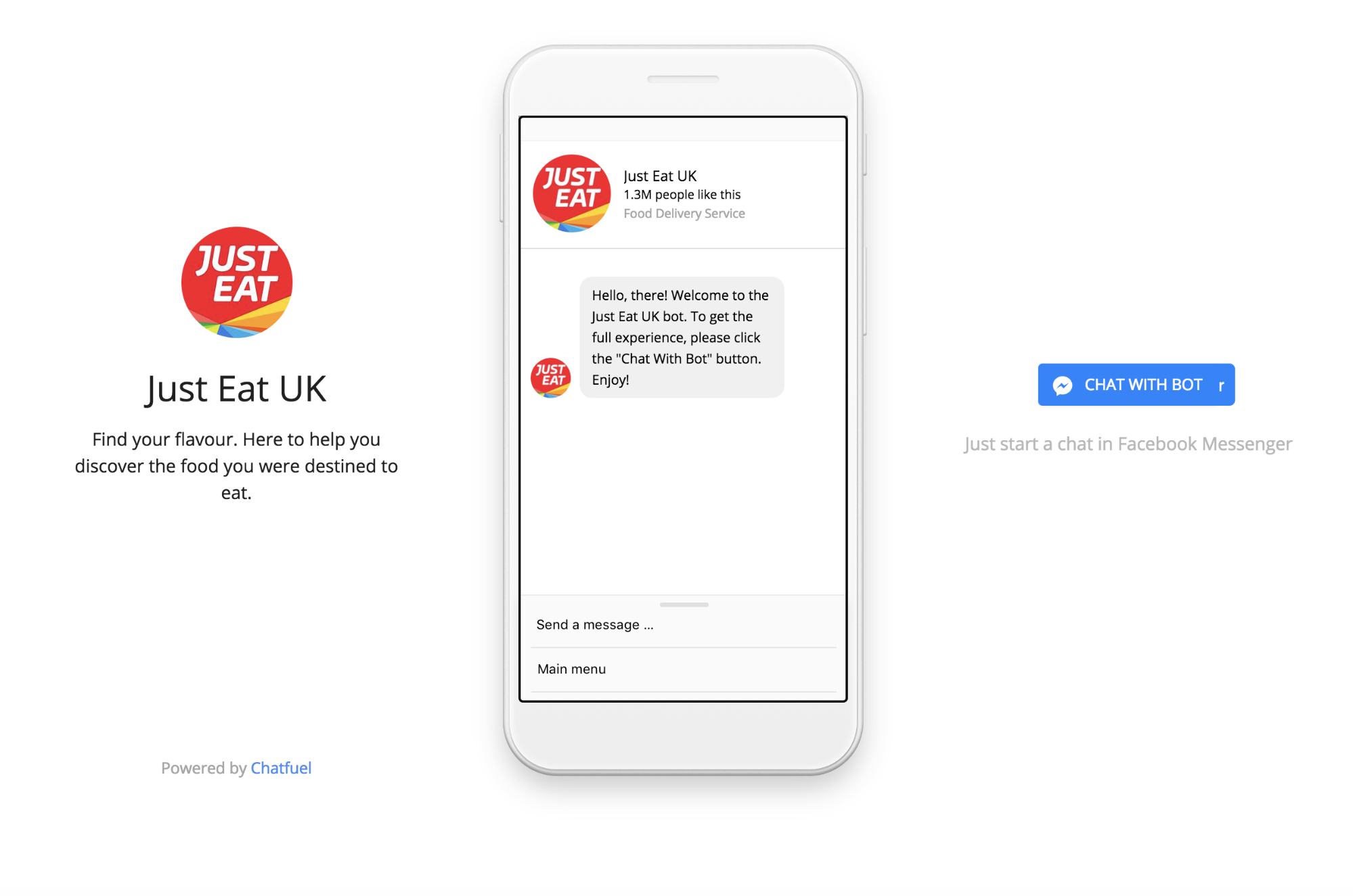 Screenshot showing a messenger conversation with Just Eat UK