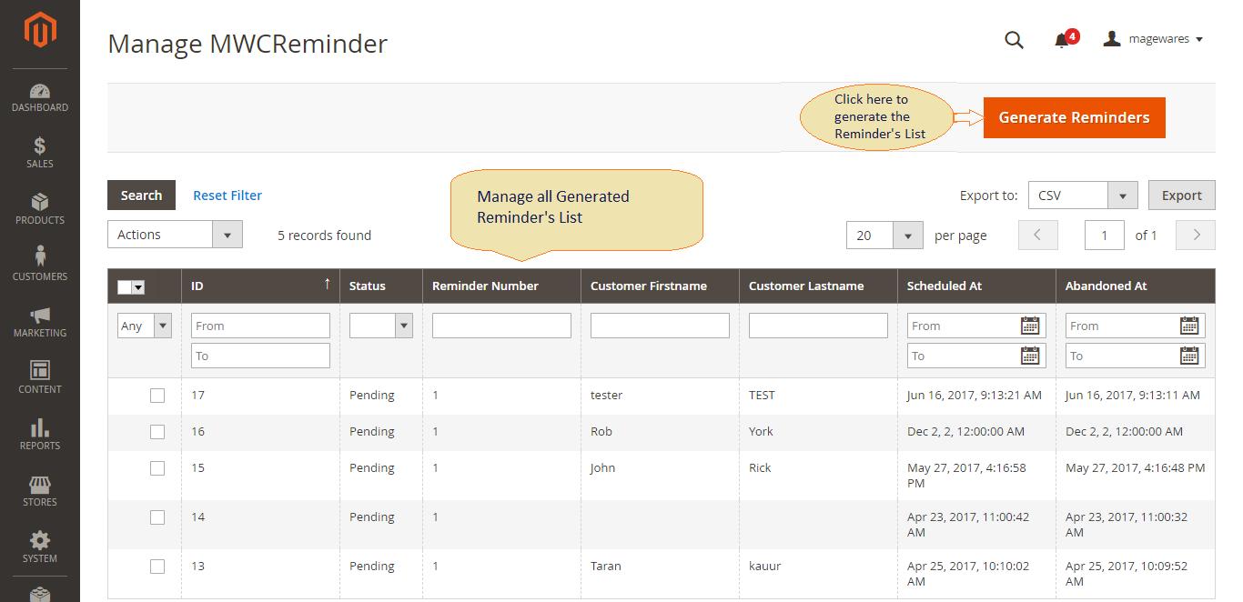 Screenshot showing the dashboard of a software