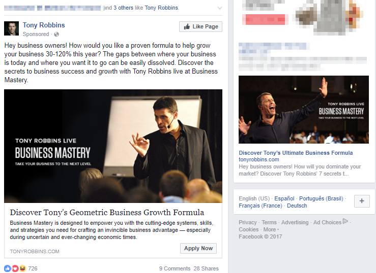Screenshot showing two individual Facebook posts by Tony Robbins