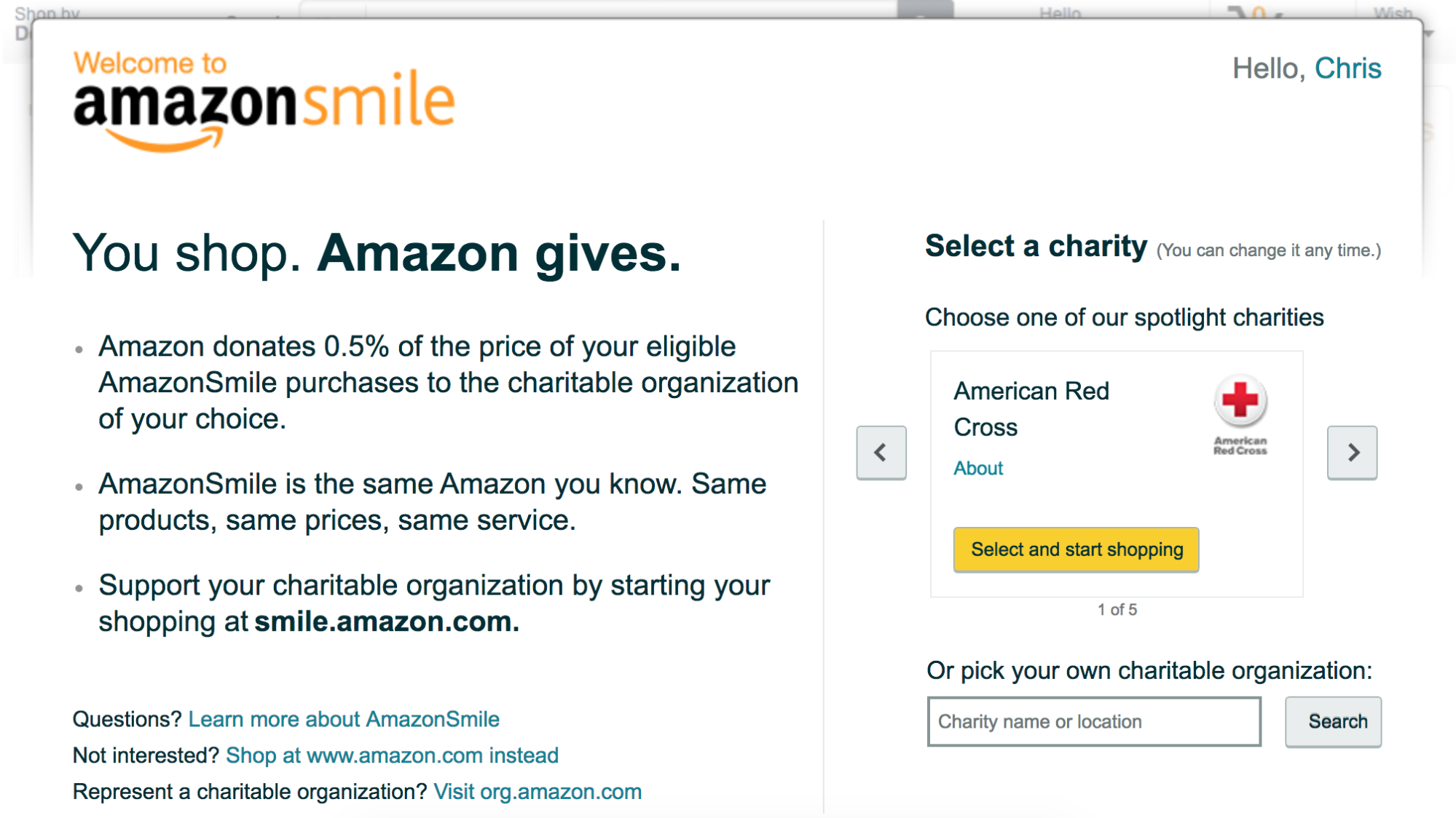 Screenshot showing an email about amazon smile