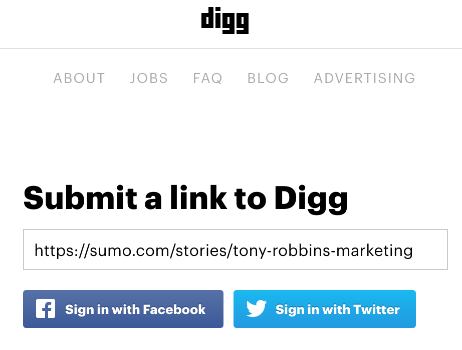 Screenshot showing the submit page on Digg