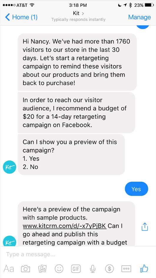 Screenshot showing a facebook messenger conversation