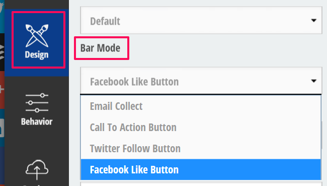 Screenshot of the design tab in Sumo if Bar Mode is selected