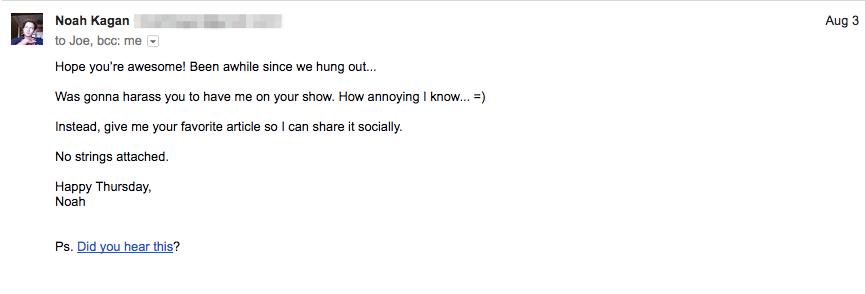 Screenshot showing an email sent by Noah Kagan