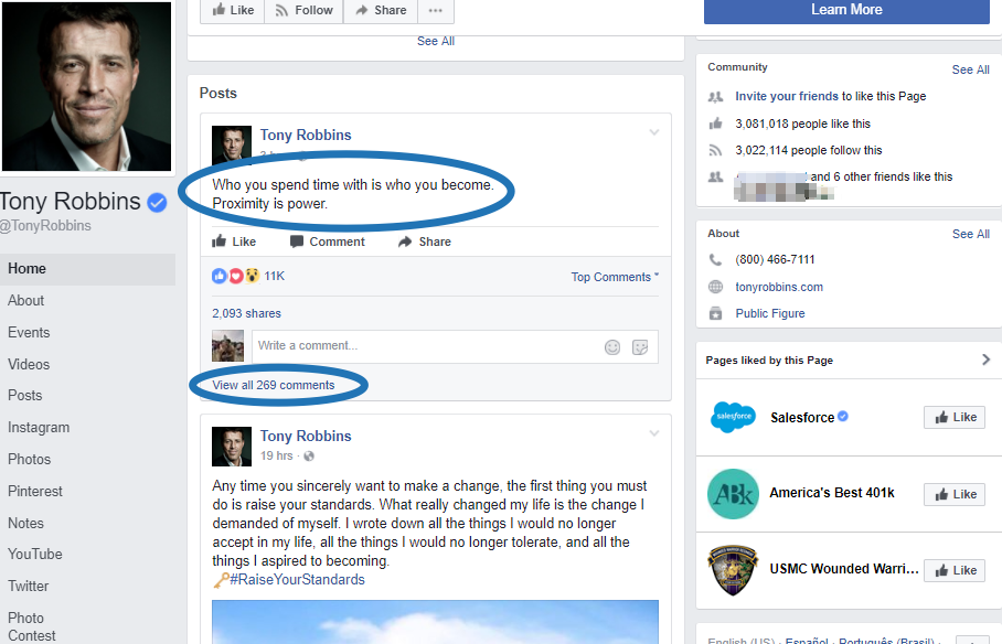 Screenshot showing a Facebook post by Tony Robbins