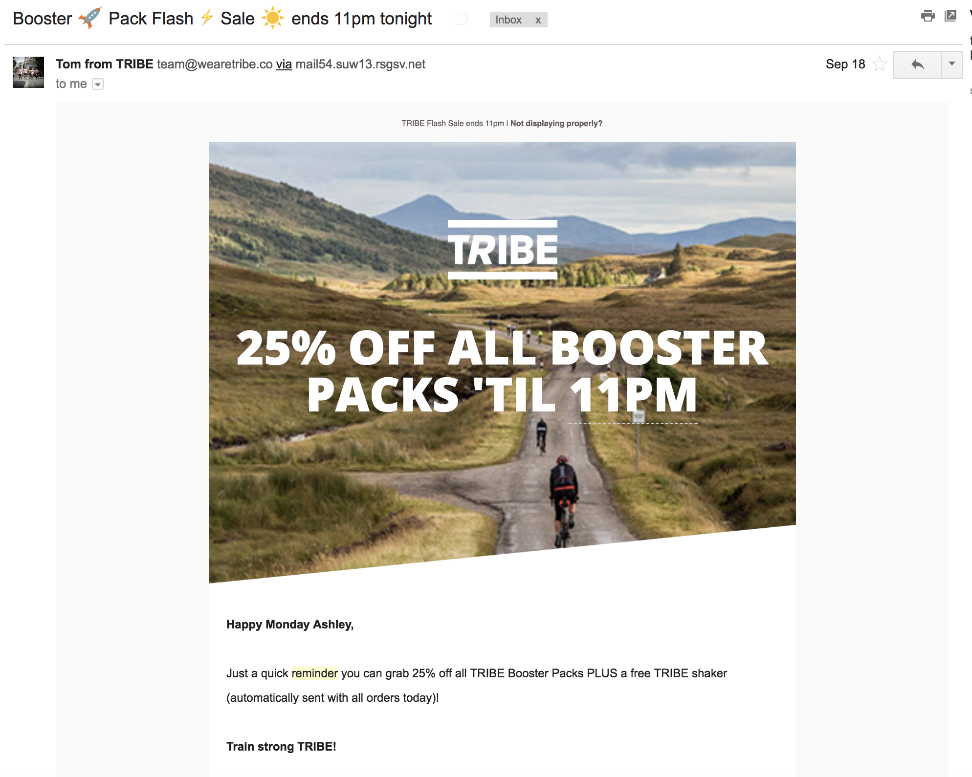 Screenshot showing an email by TRIBE