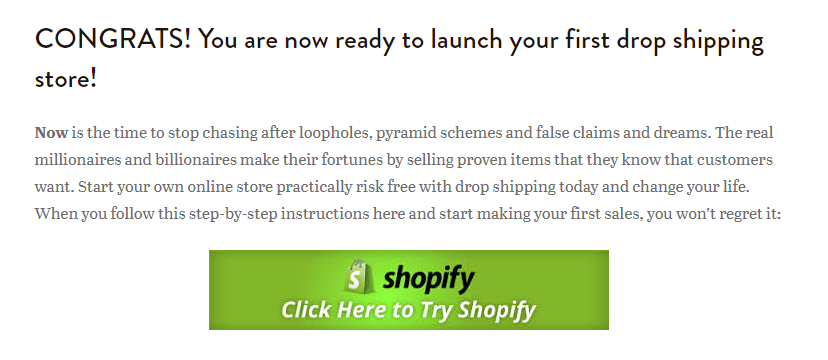Screenshot showing a CTA on shopify