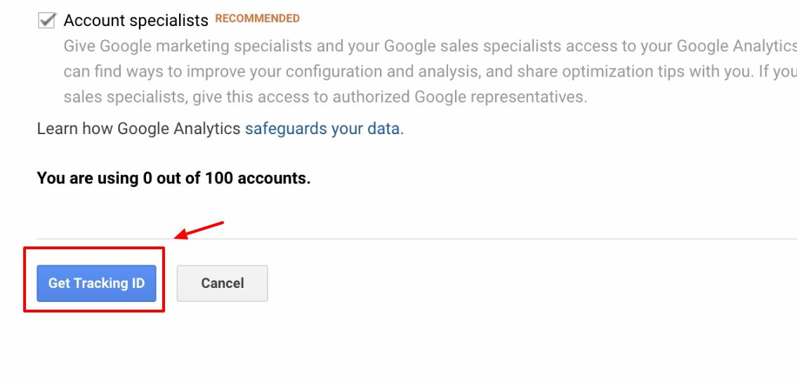 Screenshot showing google analytics get tracking ID button