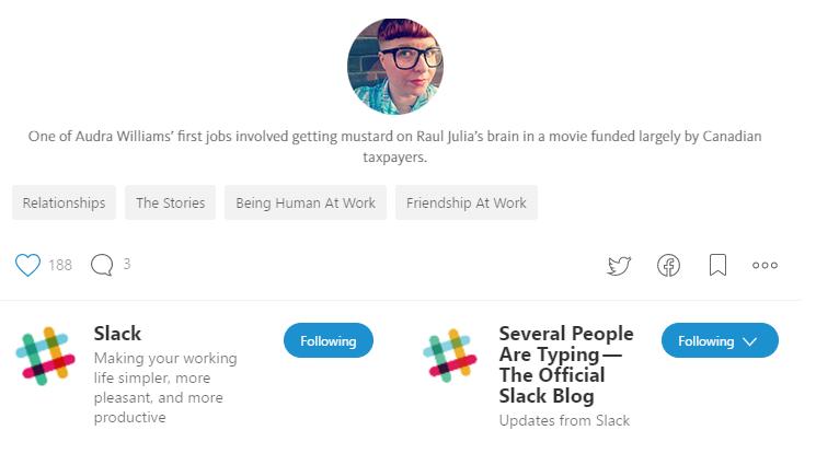 Screenshot showing something human on the Slack blog