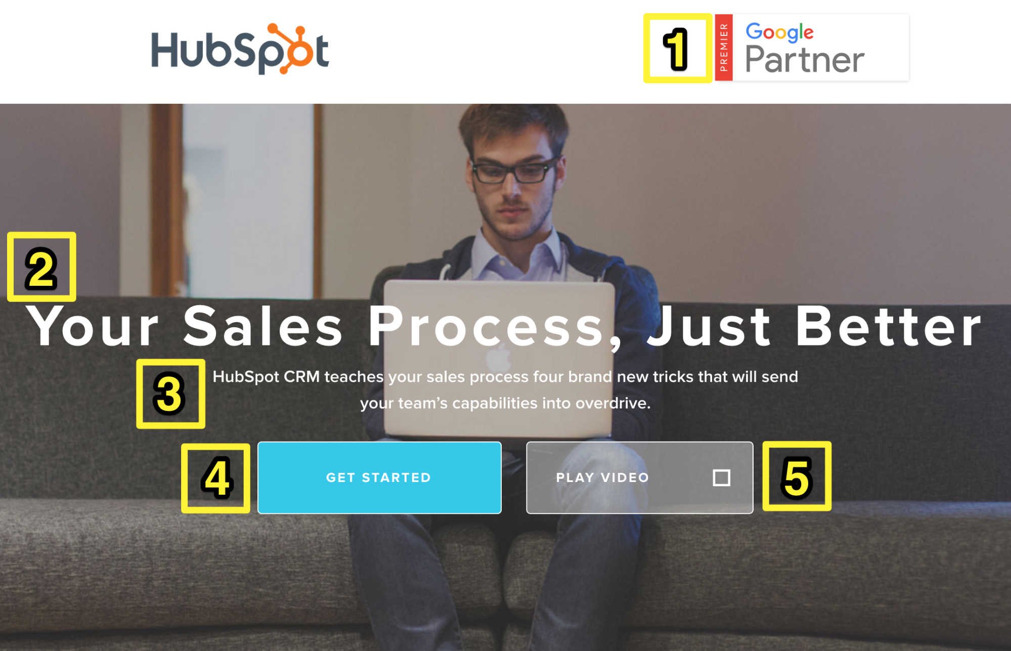 Screenshot showing a landing page for Hubspot