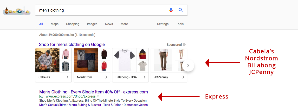 Screenshot showing google search results