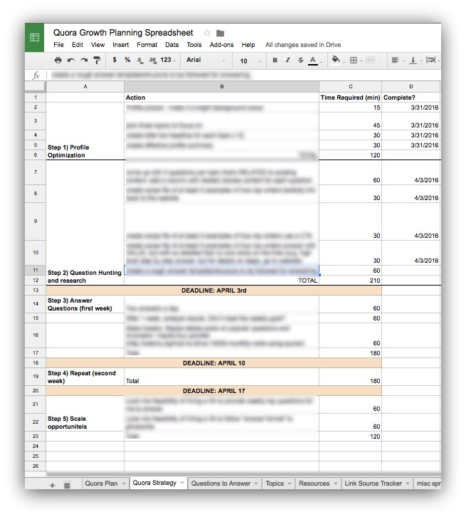 Screenshot showing the strategy planning spreadsheet
