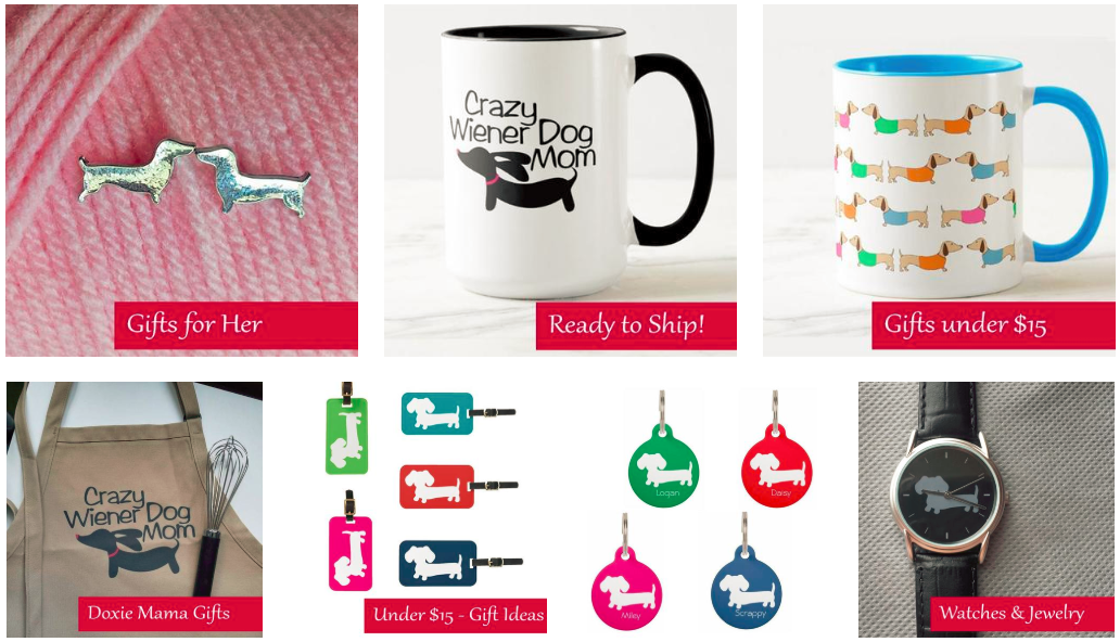 Screenshot showing products on a dachshund-based ecommerce store