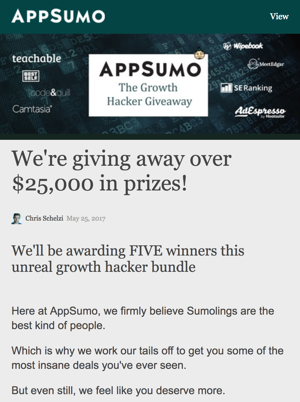Screenshot showing copy for an appsumo giveaway