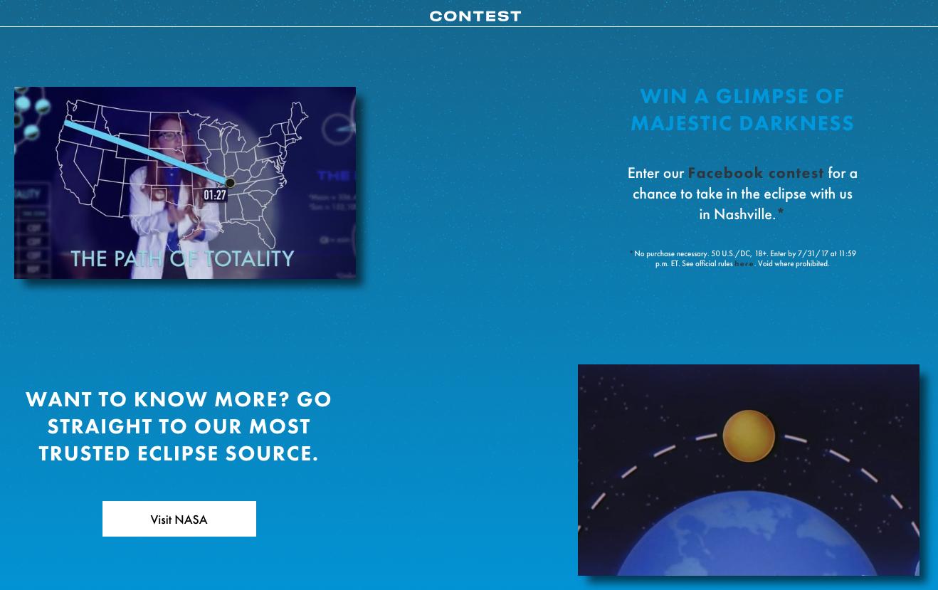 Screenshot showing an online contest